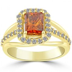 2.40 Carat Fancy Orange Diamond Engagement Ring 14k Yellow Gold Pave Halo - Orange Diamond Rings - Color Rings