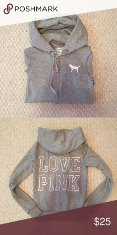 Victoria Secret Pink Jacket Love Pink gray zip up hoodie! Worn less than a handful of times! Size xs but would fit a small as well! PINK Victoria's Secret Tops