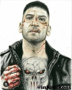 "193 Likes, 3 Comments - Wayne Maguire (@inkedikons) on Instagram: ""The Punisher #repost @jonnybernthal #inkedikons #pencilart #tattoos #thepunisher #daredevil…"""
