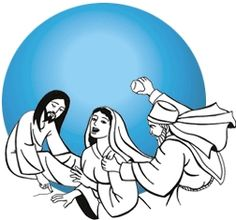 """Jesus perdoa a mulher Jo 8,1-11  Jesus foi para o Monte das Oliveiras. [...] Os escribas e os fariseus trouxeram uma mulher apanhada em adultério. Colocando-a no meio, disseram a Jesus: """"Mestre, esta mulher foi flagrada cometendo adultério. Moisés, na Lei, nos mandou apedrejar tais mulheres. E tu, que dizes?"""" [...] Jesus ergueu-se e disse: """"Quem dentre vós não tiver pecado, atire a primeira pedra!"""" [...]."""