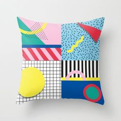 Buy Memphis Party Throw Pillow by nomadunicorn. Worldwide shipping available at Society6.com. Just one of millions of high quality products available. #memphisstyle #memphisart #memphispattern #memphisdesign #geometricarts #geometrydesign #homesweethome #tablewares #decor #decortrends #designtrends2018 #vectordesign #giftideas #vectors #homedecorideas #homedecorinspire #80sart #retrodesign #homedecordesign #mycolourfulhome #interiorsnapshot #graphicdesigner #graphicdesignland…