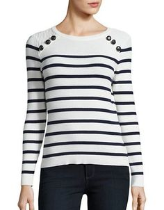 Vero Moda Striped Sweater Women's Snow White Medium