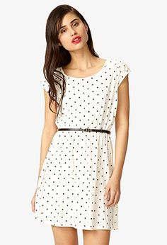 Forever 21 Polka Dot Dress w/ Skinny Belt - ShopStyle 15 Dresses, Dresses For Sale, Short Sleeve Dresses, Dresses For Work, Summer Dresses, Knit Dress, Dress Skirt, Dyt Type 4 Clothes, Zara
