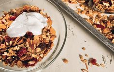 Molly Wizenberg's Everyday Granola is our everyday granola. I skip the brown sugar and use whatever nuts I want and always make a double batch.
