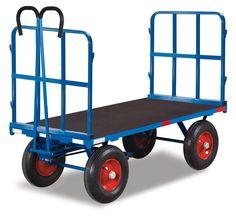 GTARDO.DE:  Handpritschenwagen mit Rohrgitter, 1000 kg, Ladefläche 1130x800 mm, Maße 1400x840x1230 mm, Vollgummi 400x80 mm 612,00 €