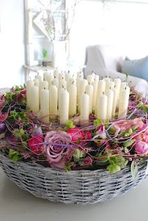 Candles: Beautiful basket of candles, wonderful for Spring