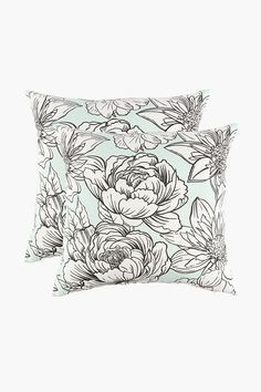 2 Pack Printed Floral Scatter Cushion Covers, - Shop New In -