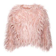 Bleeding Heart Cropped Faux Fur Jacket (Pink)