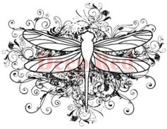 Deep Red Cling Stamp 3X3.1-Butterfly Flourish