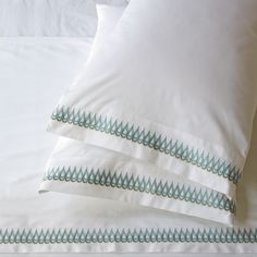 "Allegra Hicks Teardrop Embroidered Sheet Set | west elm. Drop in the ocean. For her second west elm collection, London-based fashion and textile designer Allegra Hicks was inspired by the blues and whites of sandy beaches. These tranquil tones ""lend themselves perfectly to the calming atmosphere of a bedroom."""