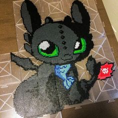 HTTYD Toothless Night Fury perler beads by mandaburr1