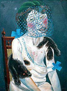 """""""Lady with Mink and Veil"""" ,1920 by Otto Dix, (German 1891-1969).....Dix painted this portrait of an old war widow forced to turn to prostitution in order to survive."""