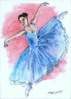 ACEO Original Painting Graceful Dancer ballerina ballet female figure pink blue #Impressionism