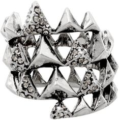 House of Harlow 1960 Jewelry Pyramid Wrap Ring ($51) ❤ liked on Polyvore featuring jewelry, rings, accessories, silver, women, pave ring, 14 karat gold ring, pave jewelry, house of harlow 1960 jewelry and 14k ring