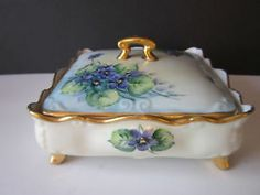 Details about Antique Porcelain Box Osborne Art Studio Chicago Gold