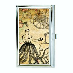 Boxing Octopus Man Business Card Case by hardweardesigns on Etsy