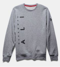 Under Armour x Muhammad Ali Rival Fleece. He'll gear up like the great one in signature style. This men's grey sweatshirt has a crew neck and fuller cut for complete comfort. The gift for the Champion in your life.