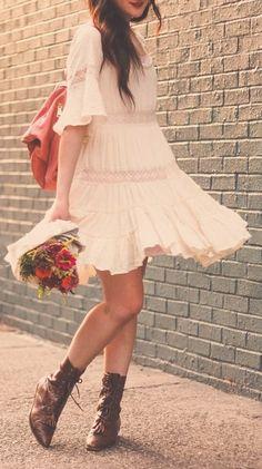 boho dress + booties #bohemian ☮k☮