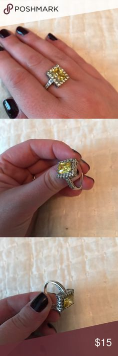 Yellow Cocktail ring Gorgeous yellow cocktail ring! Costume jewelry. Cubic zirconia. Jewelry Rings