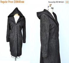 30% OFF SALE HOODED Leather Coat Jacket  Long Leather Coat