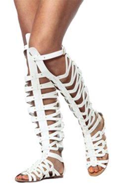 White Knee Length Gladiator SandalsSizes 8.5, 9 & 10