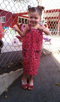 Daughter's Homemade Dress to match her Minnie Mouse Flip Flops