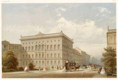 Das erste Gebäude an der Nordseite des Leipziger Platzes war ursprünglich dieses stattliche Haus Leipziger Straße 137, Ecke Leipziger Platz 12, von Friedrich Hitzig um 1850 und musste der Erweiterung des Warenhauses Wertheim weichen, Abriss um 1903. Hier befanden sich ursprünglich die britische und türkische Gesandschaft: