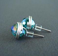 Stud Earrings Nickel Free Earrings Wire Wrapped by PolymerPlayin, $13.00