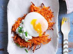 Sweet potato rosti with herbed ricotta and poached egg recipe - Practical Parenting Magazine - Yahoo!7 Lifestyle
