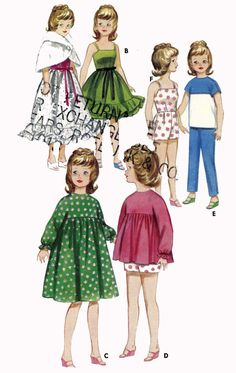 Crochet Pattern 7023 for Barbie doll Clothing 3 piece suit evening gown swimsuit
