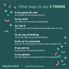 Other ways to say: I Think