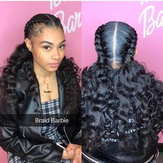 Easy Boho Hairstyle For Long Hair - 20 Trendy Half Braided Hairstyles - The Trending Hairstyle Box Braids Hairstyles, Braided Ponytail Hairstyles, Easy Hairstyles For Medium Hair, Braided Hairstyles For Black Women, Girl Hairstyles, Hairstyles Videos, Two Cornrow Braids, American Hairstyles, School Hairstyles