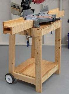 plans for miter saw table Woodshop Tools, Garage Tools, Workbench Plans, Woodworking Workbench, Woodworking Projects Diy, Diy Wood Projects, Woodworking Shop, Garage Shop, Garage Workbench
