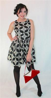 Minuet Lurex Embroidered Dress @Voovoodress.com $80.00 Vintage inspired | Classic | Rockabilly