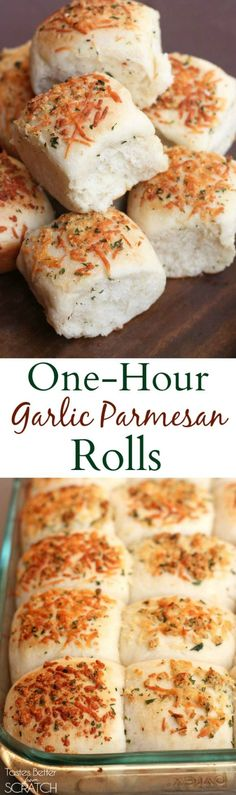 One-Hour Garlic Parmesan Rolls are Light and fluffy rolls with garlic parmesan topping made from start to finish in ONE HOUR! Great Recipes, Favorite Recipes, Delicious Recipes, Good Food, Yummy Food, Bread Rolls, Cake Rolls, Garlic Parmesan, Dinner Rolls