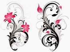 Swirl and pink stargazer lily tattoo image – foot tattoos for women flowers