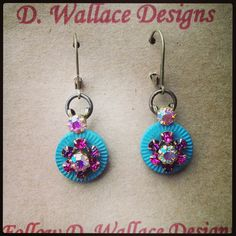 Antique button and crystal earrings. $20 D. Wallace Designs