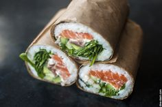 sushi burrito - You can wrap rice and seaweed around fresh fish or tempura shrimp, but nothing stops you from substituting them with crunchy bacon, pulled pork, crispy chicken, juicy roast beef or slices of grilled eggplant.