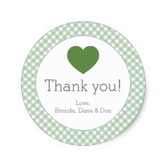 Green Gingham with Green Heart Sticker