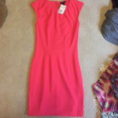 h&m pink fitted dress. Fabric is polyester Never worn tags still on dress. Cute dress goes above knee fitted. H&M Dresses Mini