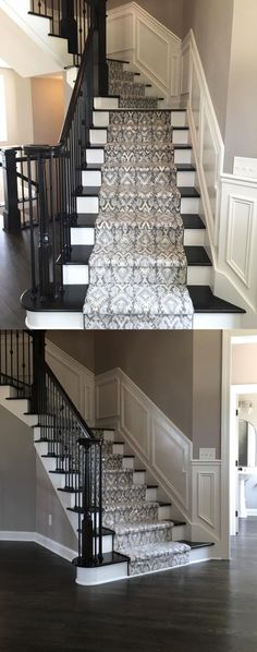 Beautiful Patterned Stair Runner on Dark Stained Stairs with Dark Hardwood Flooring  |  Milliken Imagine Artisan in Moonstone  |  New Home Construction  |  Home Improvement  |  Runner & Area Rug Ideas  |  Interior Design  |  Carpet Ideas  |  Ikat Pattern  |  Taupes, Browns & Light Blues: