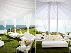 pretty wedding white furniure | white lounge sofas at an outdoor wedding