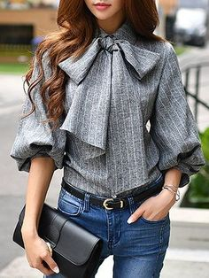 Gray Balloon Sleeve Stripes Polyester Blouse