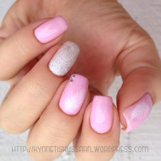 Light pink feather mani