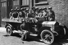 June 1916: Members of the Women's Reserve Ambulance Corps pose during World War One
