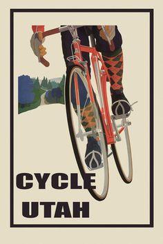 Bicycle Bike Cycle Riding Utah Road Tavel Tourism Vintage Poster Repro Free s H | eBay