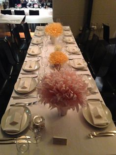 Tissue paper table decor, could use Halloween color for some cheap and easy volume/decoration.