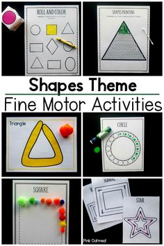 Fine motor activities.  These fine motor activities are great for learning shapes.  The entire packet of activities is designed around shapes.  This is a great way to work on fine motor skills while learning.  Perfect for preschool fine motor, occupational therapy interventions, kindergarten fine motor activities and to use at home! Fine Motor Activities For Kids, Pre K Activities, Sensory Activities, Infant Activities, Preschool Activities, Sensory Play, Pediatric Physical Therapy, Occupational Therapy, Kinesthetic Learning