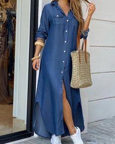 Vestido camisero con botones y aberturas Online. Discover hottest trend fashion at chicme.com Denim Maxi Dress, Long Sleeve Shirt Dress, Blouse Dress, Button Down Shirt Dress, Maxi Dresses, Wedding Dresses, Jean Dresses, Long Dresses, Fashion Dresses
