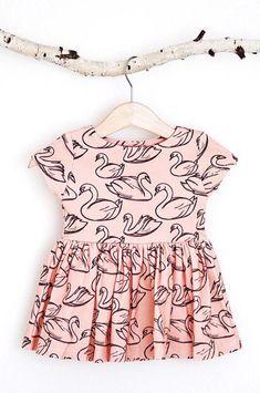 Handmade Swan Print Baby Toddler Dress | RockyRacoonApparel on Etsy